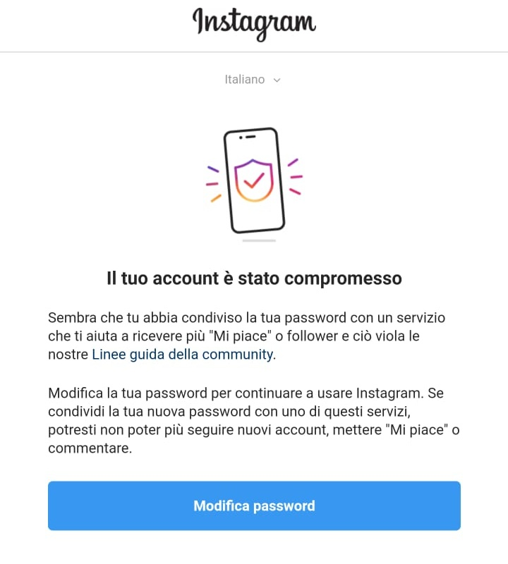 blocco login instagram